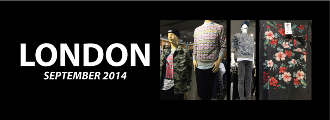 Series of London store photos showing menswear fleece pattern trends